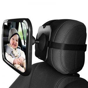 Home-neat Siège arrière miroir–vue arrière bébé Miroir de siège de voiture en bébé et maman–Large convexe en verre incassable et Entièrement assemblé–Crash testé et certifié pour la sécurité de la marque Home-Neat image 0 produit