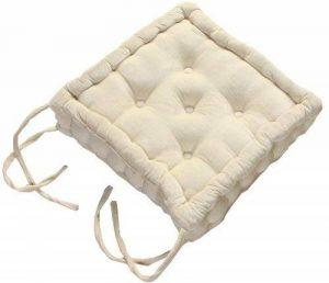 Homescapes Coussin rehausseur QUALITE supérieure (40 x 40 x 10cm) CONFORT pour chaise de salon. Pur coton ULTRA DOUX. Couleur CREME de la marque Homescapes image 0 produit