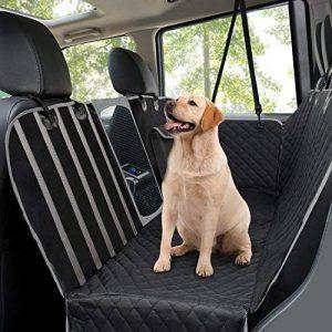Housses de siège d'auto pour chien, Housse de siège arrière pour animal de compagnie avec fenêtre de visualisation en filet / rabats latéraux, Banquette de sécurité pour banquette de voyage résistante, Housse de siège antidérapante pour voitures et VUS, 1 image 0 produit