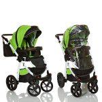 LCP Kids Poussette combinee 3en1 LUCATO eco cuir pour bebe et enfant 0-36 moins pliable avec module canne et siege auto groupe 0+ du 0 a 13 kg - vert noir de la marque LCP Kids® image 4 produit