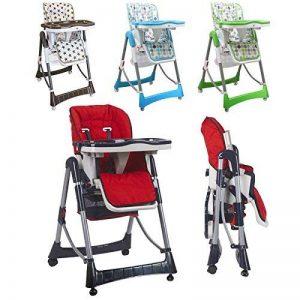 Monsieur Bébé ® Chaise haute enfant pliable, réglable hauteur, dossier et tablette - Quatre coloris - Norme NF EN14988 de la marque Monsieur-Bébé image 0 produit