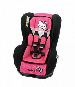 Siège auto Hello Kitty Groupe 0+/1 de 0 à 18 kg avec protections latérales - Fabrication 100% Française - 3 étoiles Test TCS - Cale tête et assise rembourrés de la marque Mycarsit image 0 produit
